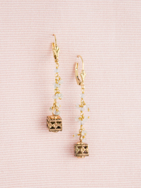 Vintage Gold Watch Fob Cube & Aquamarine Earrings