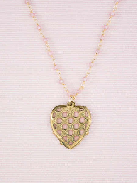 Vintage Lattice Heart Necklace with Amethyst