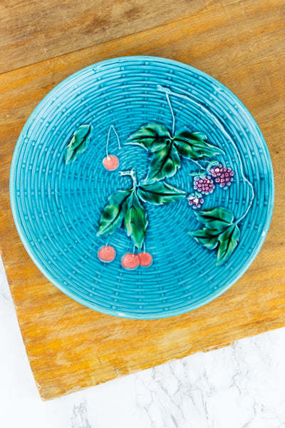 Antique Majolica Cherries and Blackberries Plate