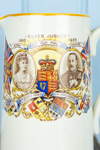 Vintage King George V and Queen Mary Jubilee Creamer and Sugar Set