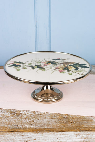 Vintage Ceramic and Metal Transferware Cake Stand