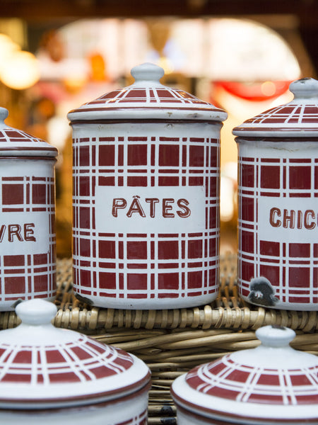 Vintage Red Check Canister Set - Five Piece