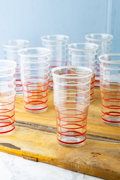Vintage Red & White Striped Tumblers - Set of 10
