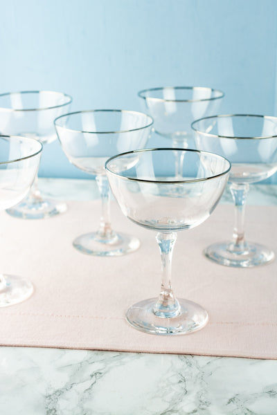 Vintage Platinum Rim Crystal Champagne Coupes - Set of 6