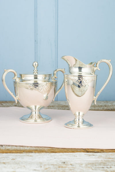 Vintage Silverplate Creamer and Covered Sugar Bowl