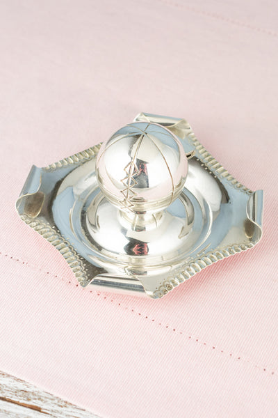 Vintage Silverplate Soccer Ball Ashtray