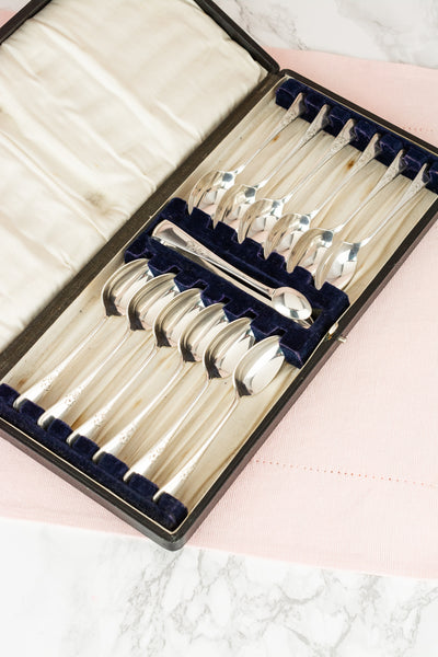 Vintage Silverplate Teaspoons with Tongs - Boxed Set of 12
