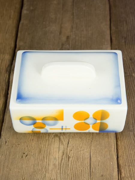 "Vintage ""Spritzdekor"" Ceramic Covered Box"
