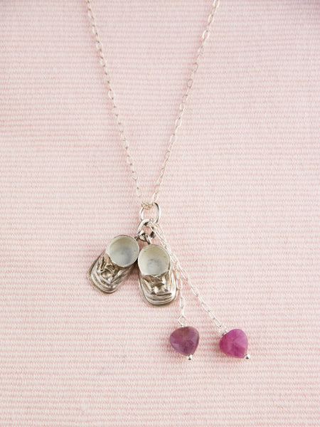 Vintage Sterling Baby Shoes Necklace