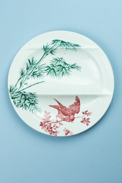 Antique Asparagus Plate - Bird and Bamboo
