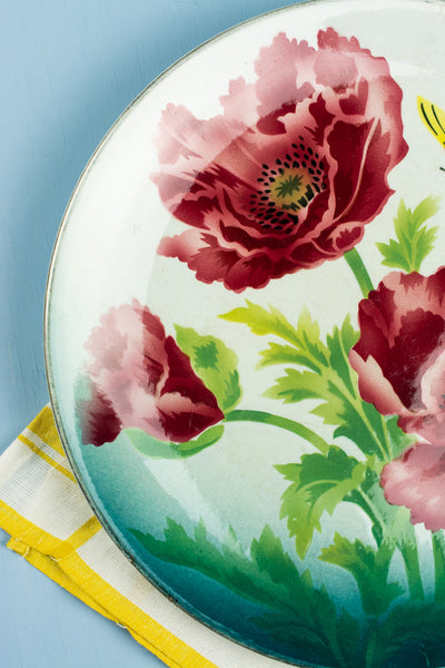 Vintage Butterfly and Poppies Cabinet Plate