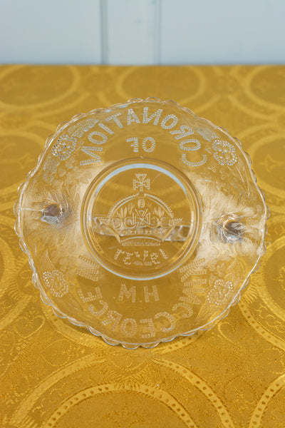 Vintage Coronation 1937 Glass Basket