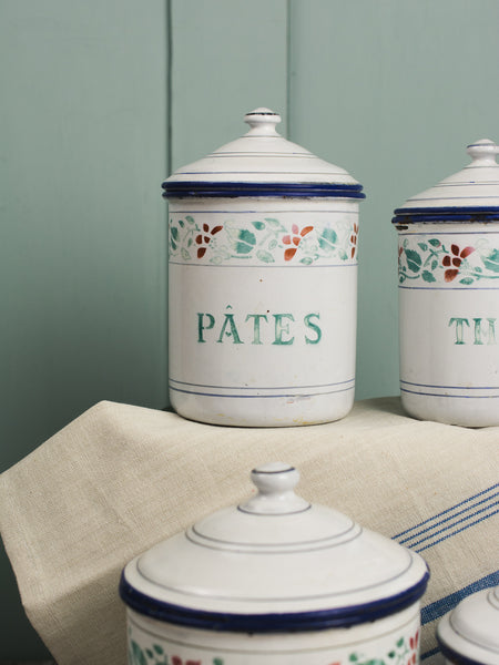 Vintage French Enamelware 4-Piece Canister Set