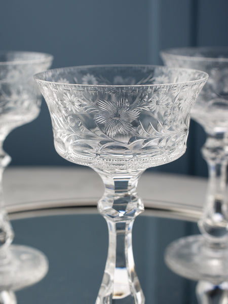 Vintage Etched Champagne Coupes - Set of 5