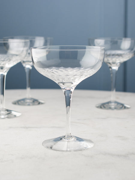 Vintage Etched Champagne Coupes - Set of 6