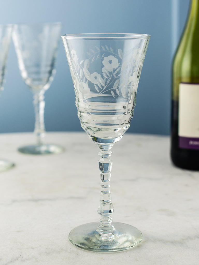be00499dfc4 Vintage Etched Wine Glasses - Set of 7 | P.O.S.H.