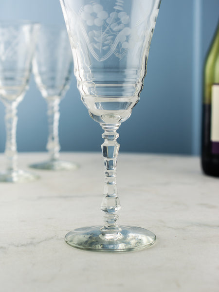 Vintage Etched Wine Glasses - Set of 6