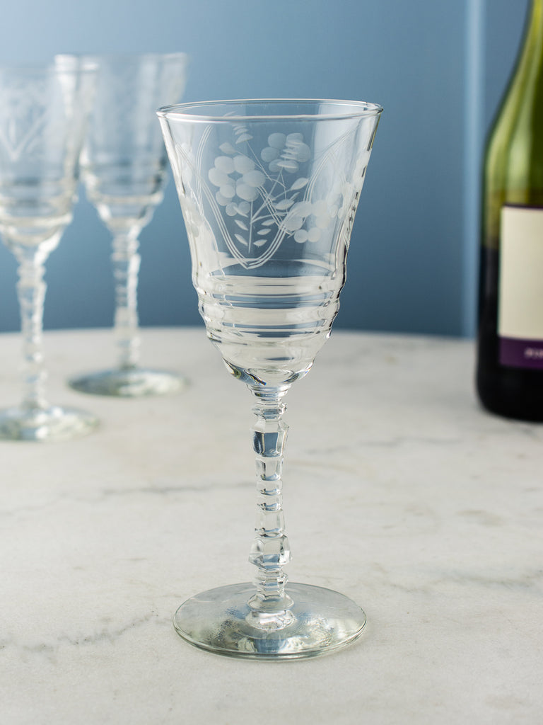 vintage etched wine glasses set of 7