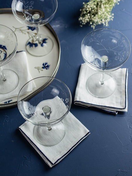 Vintage Etched Floral Champagne Coupes - Set of 6