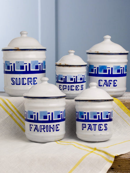 Vintage French Blue Canister Set - 5 Piece