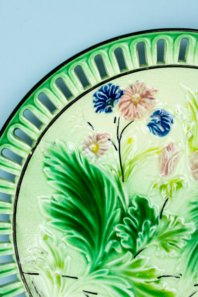 Antique Majolica Pierced Floral Plate