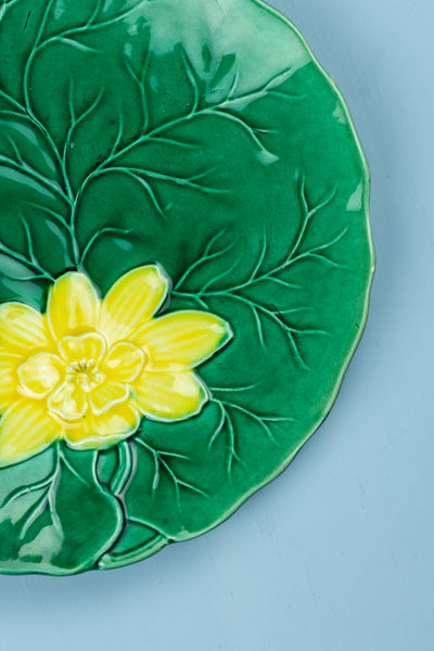 Antique Majolica Water Lily Pad Plate