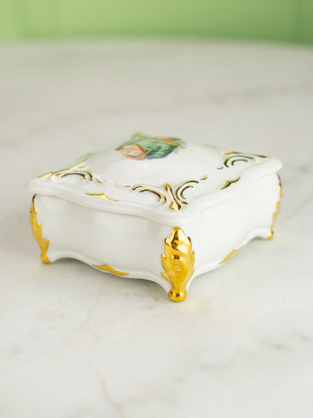 Vintage French Porcelain Napolean Box With Lid