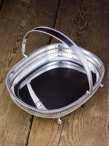 Vintage Silverplate Gallery Tray With Swing Handle