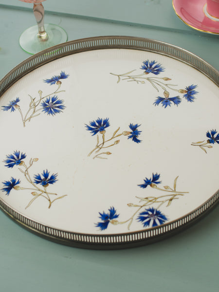 Vintage German Cornflower Ceramic Serving Tray
