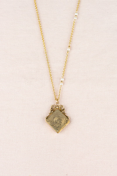 Vintage Gold Square Locket with Pearls Necklace