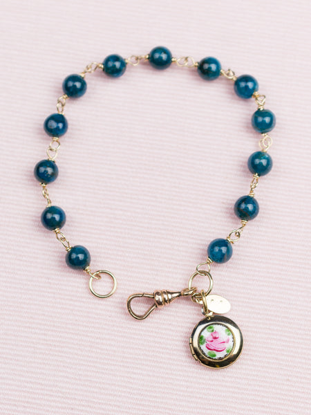 Vintage Gold & Semi-Precious Bracelet with Rose Charm