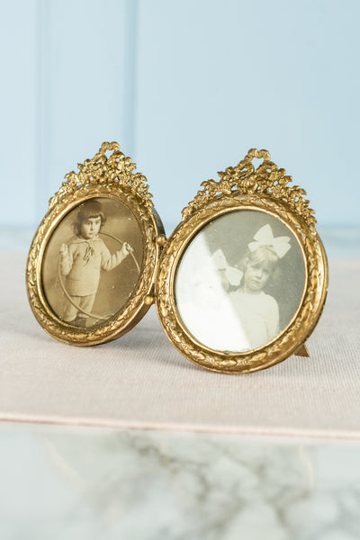 Antique French Gold Twin Frame