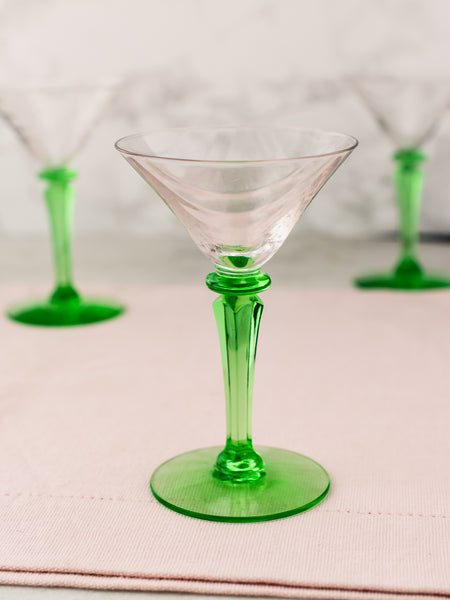 Vintage Green Depression Cocktail Glasses - Set of 5