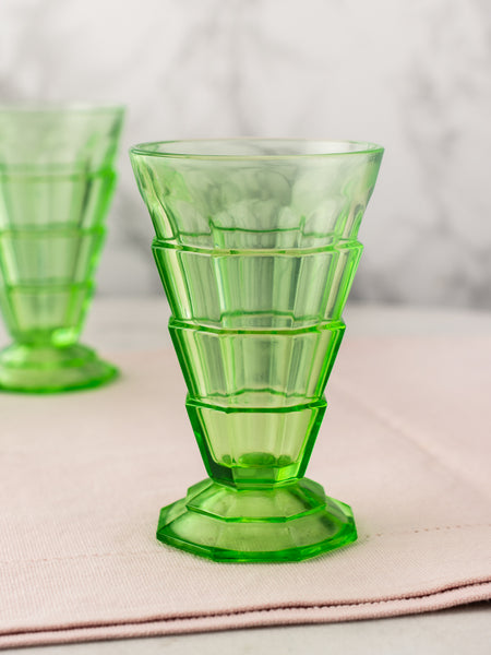 Vintage Green Depression Deco Dessert Glasses - Set of 4