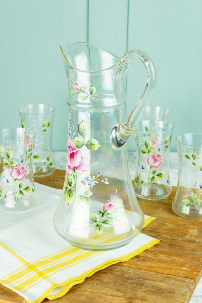 Vintage Handpainted Floral Pitcher with 5 Glasses