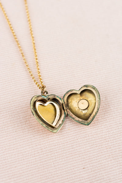 Vintage Gold  Heart Locket with Pearl