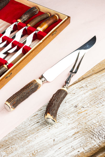 Vintage Stag Horn Handle Steak Knives & Carving Set