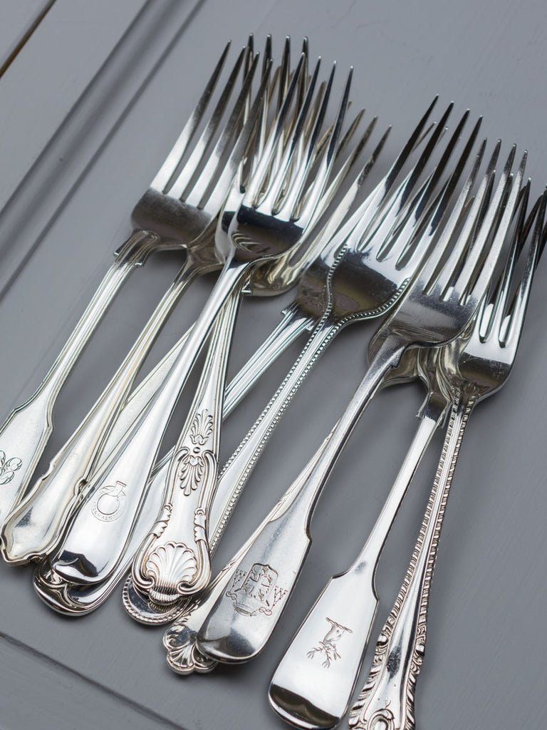 6x FORKS CUTLERY TABLE STAINLESS STEEL KITCHEN SET SMALL DIAMOND PATTERN