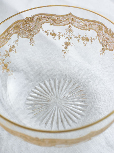Vintage Italian Gold Lace Glass Dessert Bowls - Set of 9