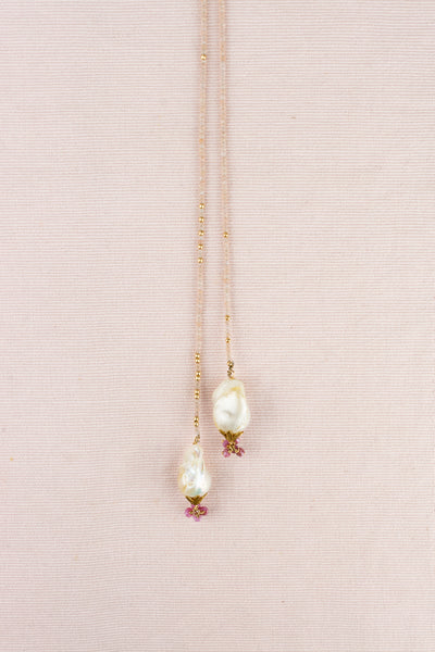 Vintage Pearl Lariat Necklace