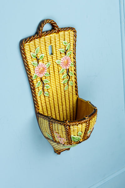 Antique Majolica Basket Weave Wall Pocket - Large