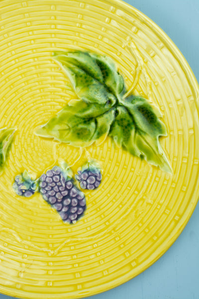 Antique Majolica Yellow Grape Plate