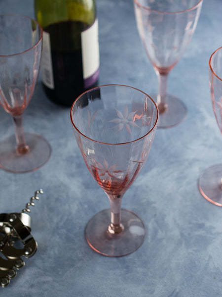 Vintage Pink Depression Etched Wine Glasses - Set of 8