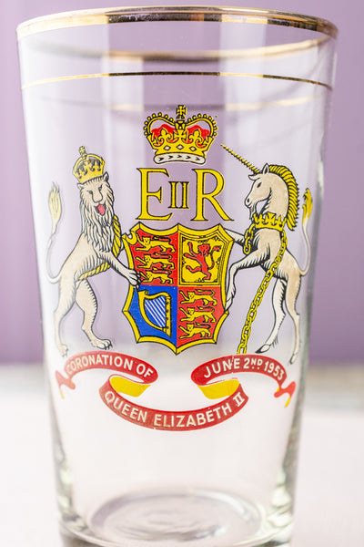 Vintage 1953 Coronation Glass Tumbler Trio