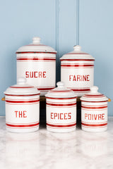 Red & White Vintage French Enamelware Canister Set - Set of 5