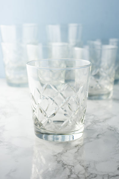 Vintage Cut-Crystal Rocks Glasses - Set of 8