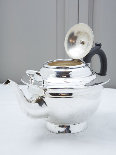 Vintage Silverplate Grand Teapot with Wooden Handle