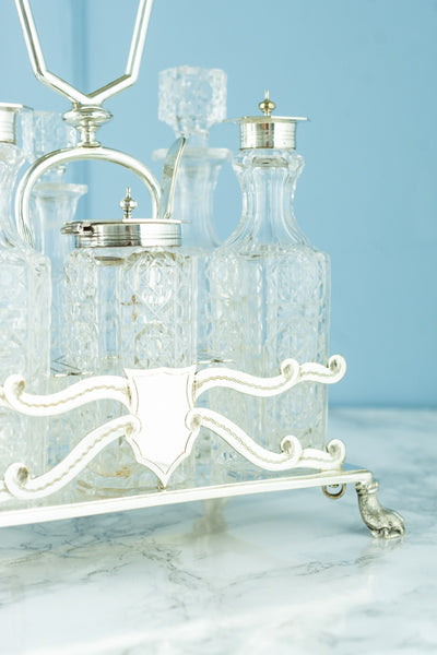 Victorian Silverplate & Crystal 6-Piece Condiment Set