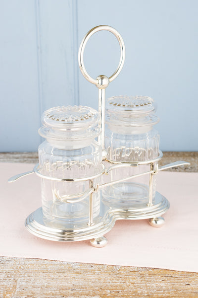 Victorian Glass Double Pickle Castor Jars in Silverplate Caddy with Forks