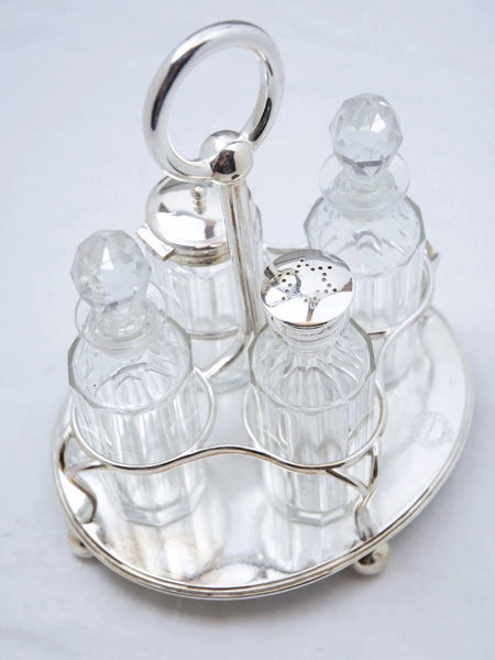 Antique Silverplate Pier Hotel Condiment Set